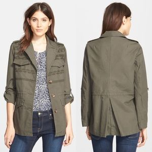 Joie | Evandale Embroidered Olive Cotton Jacket M